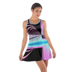 Blue And Pink Swirls And Circles Fractal Cotton Racerback Dress