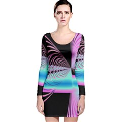 Blue And Pink Swirls And Circles Fractal Long Sleeve Velvet Bodycon Dress