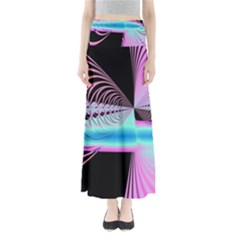 Blue And Pink Swirls And Circles Fractal Maxi Skirts