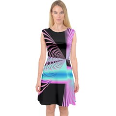 Blue And Pink Swirls And Circles Fractal Capsleeve Midi Dress