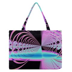 Blue And Pink Swirls And Circles Fractal Medium Zipper Tote Bag