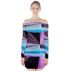 Blue And Pink Swirls And Circles Fractal Long Sleeve Off Shoulder Dress