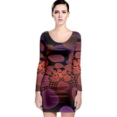 Heart Invasion Background Image With Many Hearts Long Sleeve Bodycon Dress