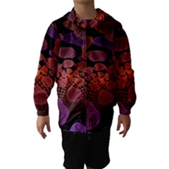 Heart Invasion Background Image With Many Hearts Hooded Wind Breaker (kids)