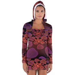 Heart Invasion Background Image With Many Hearts Women s Long Sleeve Hooded T Shirt