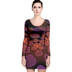 Heart Invasion Background Image With Many Hearts Long Sleeve Velvet Bodycon Dress