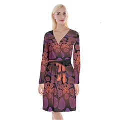 Heart Invasion Background Image With Many Hearts Long Sleeve Velvet Front Wrap Dress