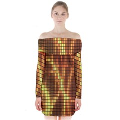 Circle Tiles A Digitally Created Abstract Background Long Sleeve Off Shoulder Dress