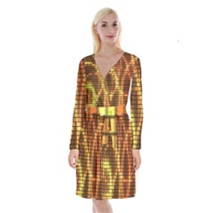 Circle Tiles A Digitally Created Abstract Background Long Sleeve Velvet Front Wrap Dress