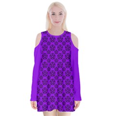 Violet Purple Pagan Pentacle Wiccan Velvet Long Sleeve Shoulder Cutout Dress