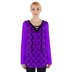 Violet Purple Pagan Pentacle Wiccan Women s Tie Up Tee
