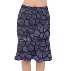 Skin1 Black Marble & Black Watercolor Short Mermaid Skirt