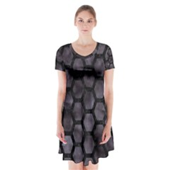 Hexagon2 Black Marble & Black Watercolor (r) Short Sleeve V Neck Flare Dress