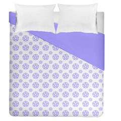 White And Lilac Pentacle Pagan Wiccan Duvet Cover Double Side (queen Size)