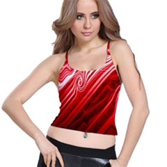 Red Abstract Swirling Pattern Background Wallpaper Spaghetti Strap Bra Top