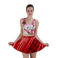 Red Abstract Swirling Pattern Background Wallpaper Mini Skirt