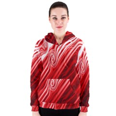 Red Abstract Swirling Pattern Background Wallpaper Women s Zipper Hoodie