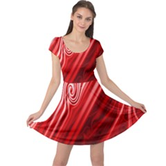 Red Abstract Swirling Pattern Background Wallpaper Cap Sleeve Dresses