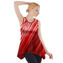 Red Abstract Swirling Pattern Background Wallpaper Side Drop Tank Tunic