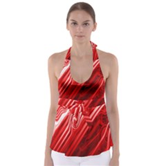 Red Abstract Swirling Pattern Background Wallpaper Babydoll Tankini Top