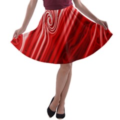 Red Abstract Swirling Pattern Background Wallpaper A Line Skater Skirt