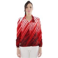 Red Abstract Swirling Pattern Background Wallpaper Wind Breaker (women)