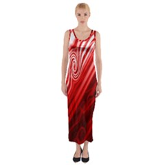 Red Abstract Swirling Pattern Background Wallpaper Fitted Maxi Dress