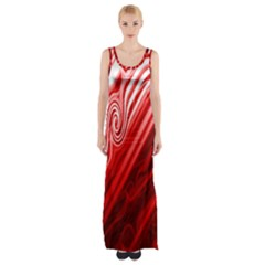 Red Abstract Swirling Pattern Background Wallpaper Maxi Thigh Split Dress