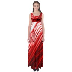 Red Abstract Swirling Pattern Background Wallpaper Empire Waist Maxi Dress