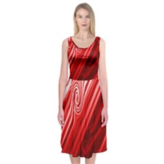 Red Abstract Swirling Pattern Background Wallpaper Midi Sleeveless Dress