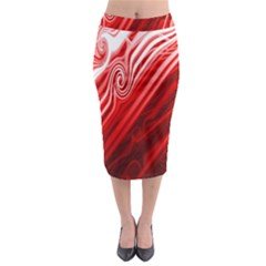 Red Abstract Swirling Pattern Background Wallpaper Midi Pencil Skirt