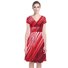 Red Abstract Swirling Pattern Background Wallpaper Short Sleeve Front Wrap Dress
