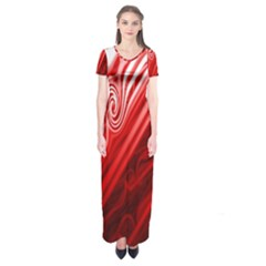 Red Abstract Swirling Pattern Background Wallpaper Short Sleeve Maxi Dress