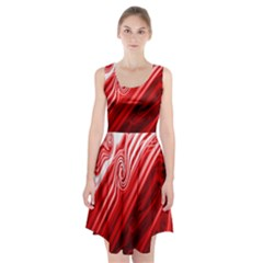 Red Abstract Swirling Pattern Background Wallpaper Racerback Midi Dress