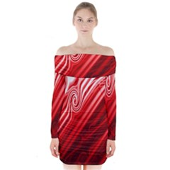 Red Abstract Swirling Pattern Background Wallpaper Long Sleeve Off Shoulder Dress