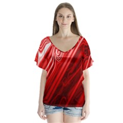 Red Abstract Swirling Pattern Background Wallpaper Flutter Sleeve Top