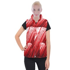 Red Abstract Swirling Pattern Background Wallpaper Women s Button Up Puffer Vest