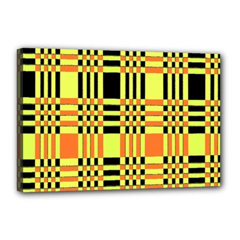 Yellow Orange And Black Background Plaid Like Background Of Halloween Colors Orange Yellow And Black Canvas 18  x 12