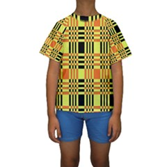 Yellow Orange And Black Background Plaid Like Background Of Halloween Colors Orange Yellow And Black Kids  Short Sleeve Swimwear