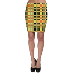 Yellow Orange And Black Background Plaid Like Background Of Halloween Colors Orange Yellow And Black Bodycon Skirt