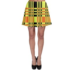 Yellow Orange And Black Background Plaid Like Background Of Halloween Colors Orange Yellow And Black Skater Skirt