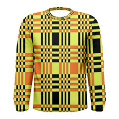 Yellow Orange And Black Background Plaid Like Background Of Halloween Colors Orange Yellow And Black Men s Long Sleeve Tee