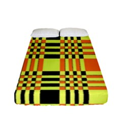 Yellow Orange And Black Background Plaid Like Background Of Halloween Colors Orange Yellow And Black Fitted Sheet (full/ Double Size)