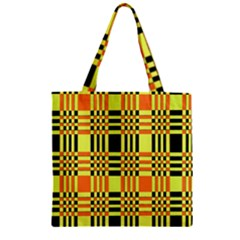 Yellow Orange And Black Background Plaid Like Background Of Halloween Colors Orange Yellow And Black Zipper Grocery Tote Bag