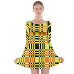 Yellow Orange And Black Background Plaid Like Background Of Halloween Colors Orange Yellow And Black Long Sleeve Skater Dress