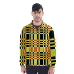 Yellow Orange And Black Background Plaid Like Background Of Halloween Colors Orange Yellow And Black Wind Breaker (men)