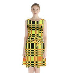 Yellow Orange And Black Background Plaid Like Background Of Halloween Colors Orange Yellow And Black Sleeveless Chiffon Waist Tie Dress