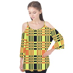 Yellow Orange And Black Background Plaid Like Background Of Halloween Colors Orange Yellow And Black Flutter Tees