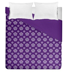 Deep Purple White Pentacle Pagan Wiccan Duvet Cover Double Side (queen Size)