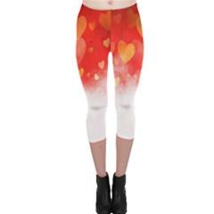 Abstract Love Heart Design Capri Leggings
